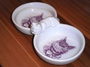 poezenschaaltjes, schattig, porcelein