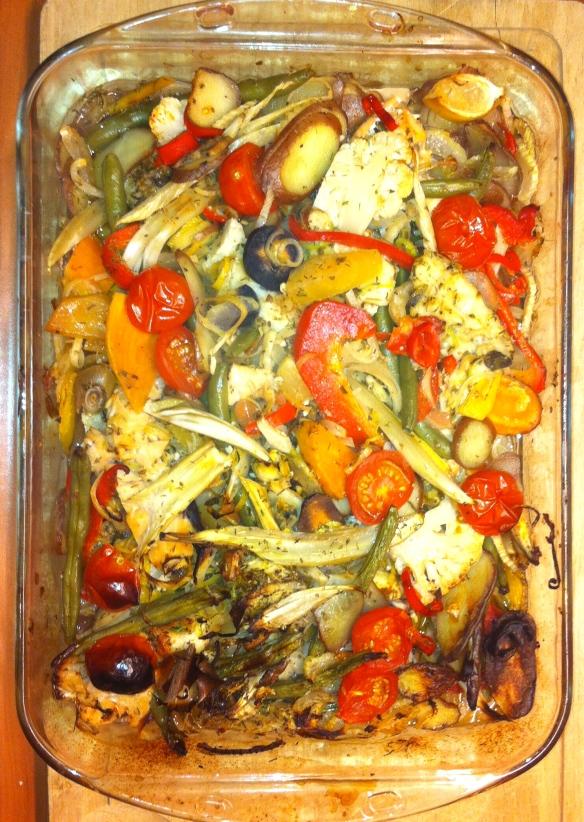 ovenschotel met groenten en vis, witte wijn, provencaalse kruiden, hete paprikapoeder, knoflook,