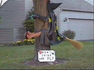 dronken heks vliegt tegen boom