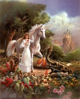 16x20-Baby-Dragon-with-Maiden-and-Unicorn