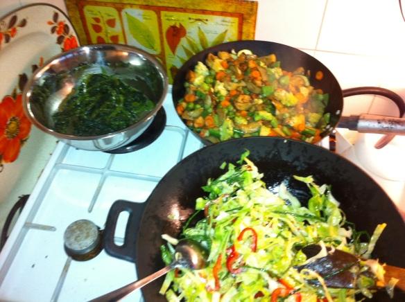 Heks had twee pannen nodig voor al die groenten. , Thaise groene curry