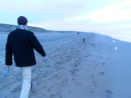 man met hondje op strand, Ysbrandt en Cowboy, Wassenaarseslag, strand zee, hond , mens, mooi licht op water, ondergaande zon