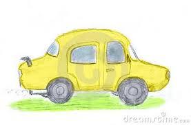 gele auto, yellow car
