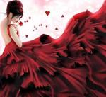 lady in red, vrouw in rode jurk