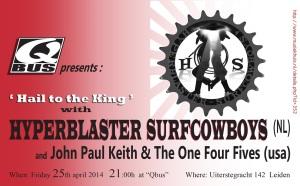 Hyperblaster Surfcowboys, Qbus, Leiden, 25 april 2014, publiek is enthousiast, surfrock