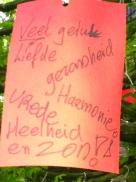 Wensboom, Oosterpark, Amsterdam, april 2014, VEEL GELUK, LIEFDE , SON, GEZONDHEID, VREDE, HARMONIE