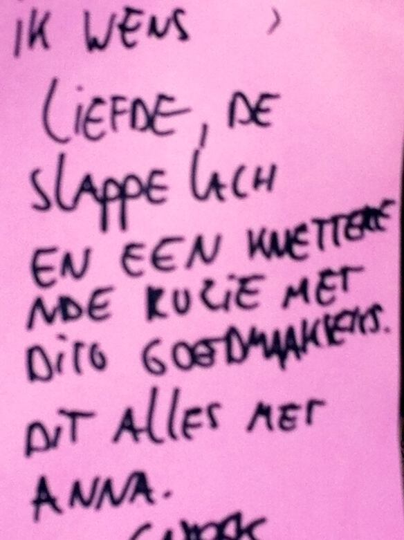 Wensboom, Oosterpark, Amsterdam, april 2014, ik wens, liefde, slappe lach, knetterende ruzie, , goedmaakseks, dit alles met Anna