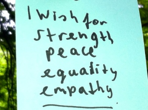 Wensboom, Oosterpark, Amsterdam, april 2014, i wish for strenght, peace, equality, empathy
