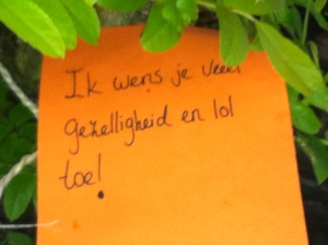 wens je lol en gezelligheid,Wensboom, Oosterpark, Amsterdam, april 2014