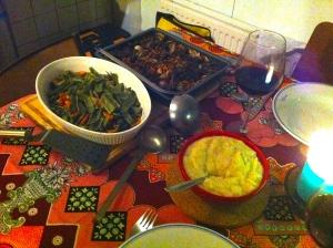 puree van aardappelen en knolselderij,klapstuk met bier,geroosterde groenten uit de oven
