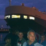 hijskraan,havens van Amsterdam, havensafari, nacht, schip