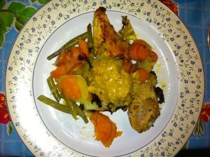 piri piri sausje, kip met groenten uit de oven