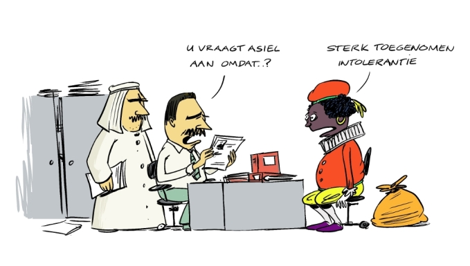 cartoon Sinterklaas en zwarte piet, discussie over Zwarte Piet,