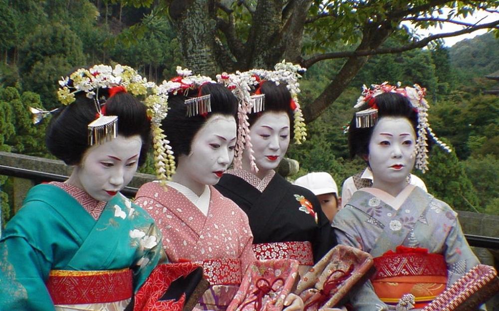 GEISHA, wit gezicht, Japanse dames, geisha's