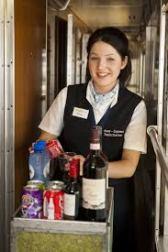 stewardess , treinpersoneel, stewardess op trein, hotelplan, Bergland Express