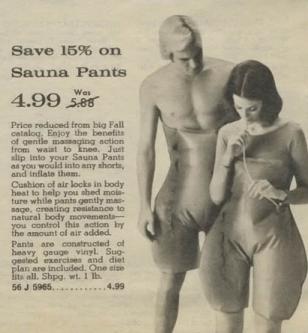 Saunapants, afslanken met saunabroek, retro plaatje sauna