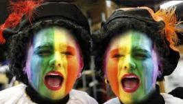 regenboog Piet, kleurig geverfd gezicht, Zwarte Piet in kleur, kleurige Piet