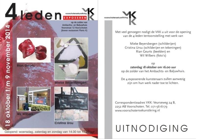 RianGeurts, Uitnodiging voor expositie, Baljuwbuis, Voorschoten, beeldhouwster, marmer en papier mache