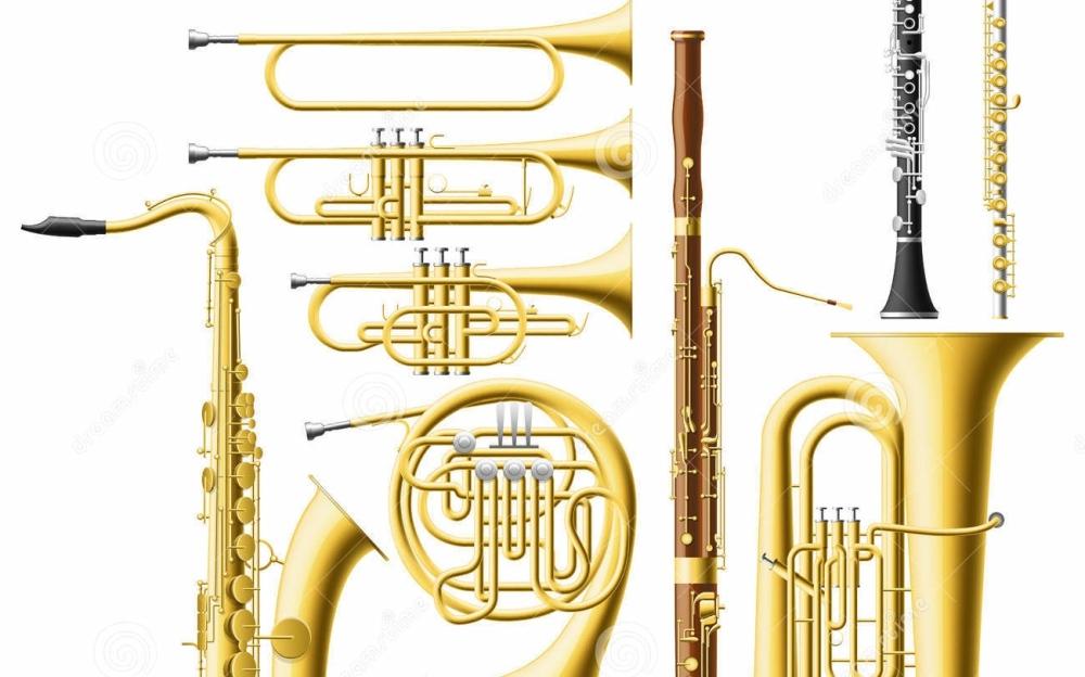 koperen blaasinstrumenten, trompet , saxofoon, schuiftrompet