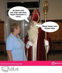 zak van Sinterklaas, te dik voor de zak,