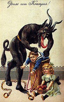 sinterklaas en Rupert, sint en duivelse knecht Duitse sint, Krampus,