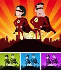 superman, supervrouw, vechtend echtpaar, avontuurlijk stel