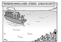 mensensmokkelaars en Sinterklaas, slavernij, boten met zwarte slaven