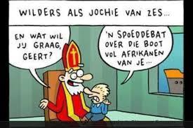 Geert Wilders bij de Sint op schoot,