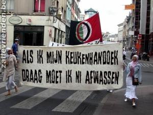 KOPVOT, HOOFDDOEKJESVERBOD, PROTEST, ISLAMITISCHE DAMES