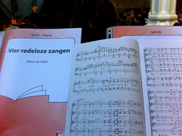 Lokhorstkerk, Leiden, repetite Leidse Koorprojecten, dirigent Wim de Ru, partituur