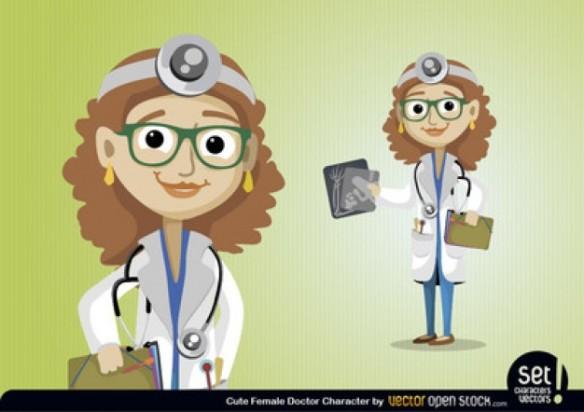 young woman doctor on white background,ZiEKENHUIS, DOKTER, VROUWELIJKE ARTS, ONDERZOEK,
