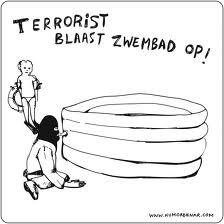 terrorist blaast zwembad op, spelen met water,ZWEMMEN, ZWEMBAD,, dikke man, duiken, water, grapjes, , bommetje