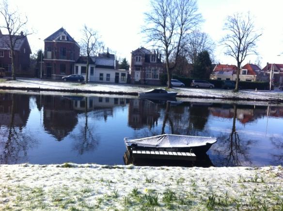 Plantsoen, Leiden, sneeuw, hondjes, man met kinderen, opa met kleinkinderen in kinderwagen, narcissen in de sneeuw, hollands park, kerk, rollen in de sneeuw