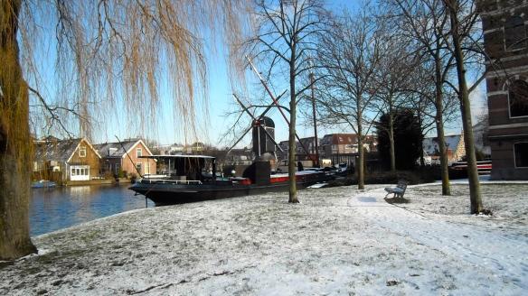 Leiden in de sneeuw, stad , sneeuw, hondje in de sneeuw, parkje, boten, grachten, hollandse stad,