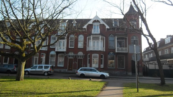 Gouda, park, romantisch,Gouda, jugendstil huizen, raamdecoratie