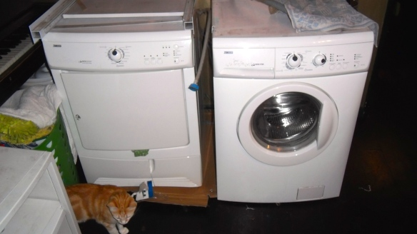 droger met 1 oog, verbaasde wasmachine, geschrokken wasmachine, droger steekt tong uit, groene tong