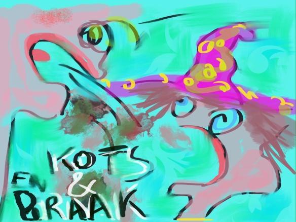 © Toverheks.com ,kots en braak, ruzie, over iemand heen kotsen