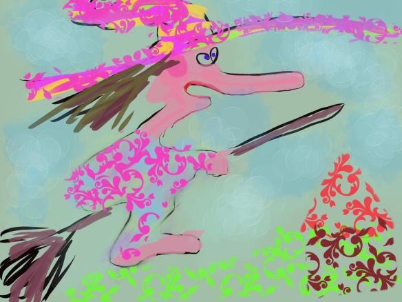 © Toverheks.com, heks op bezemsteel, vliegende heks, heksje, grappige heks, gekke heks, toverheks