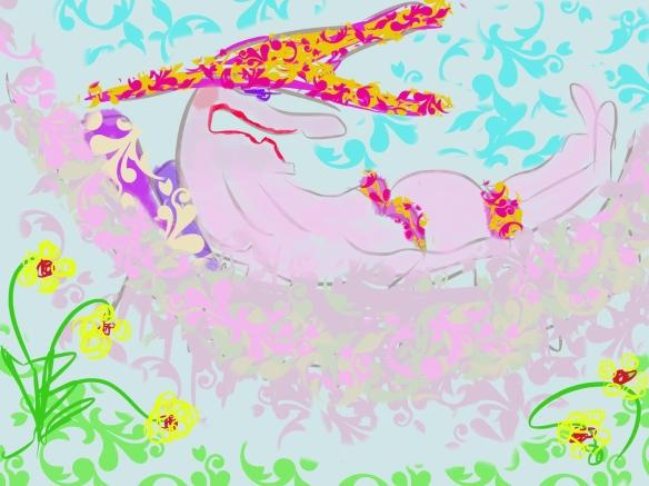 © Toverheks.com, LUIEREN in hangmat, slapen, heks in hangmat, in bikini in hangmat, bloemen, zon,