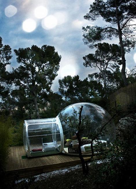 wonen in een bol, bubbel, bijzonder wonen, bolvormig huis,