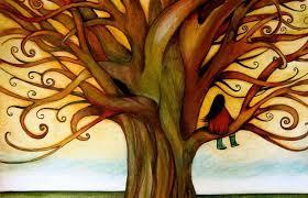 stil in boom, meisje, alleen, rust